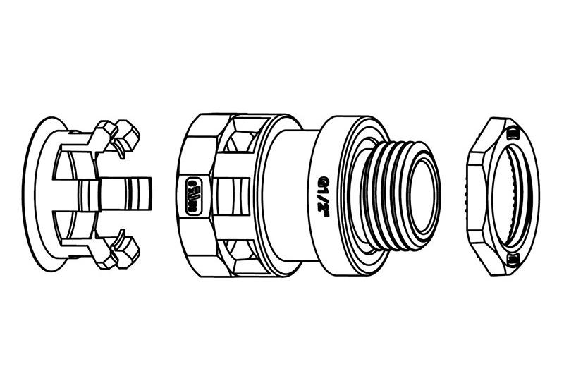 Liquid Tight Nylon Fitting (UL 1696)-FN02 Series